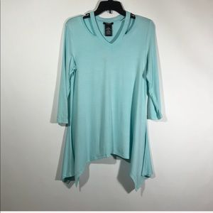 Premise Aqua Tint Blue Womens Top Small